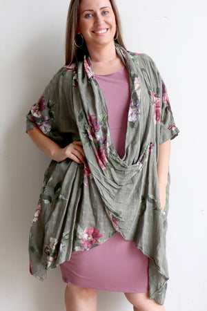 Purolino 100% pure linen poncho throw over with vintage floral print. Italian made in generous plus size fitting.