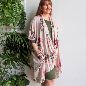 Purolino 100% pure linen poncho throw over with vintage floral print. Italian made in generous plus size fitting. Rose Pink.