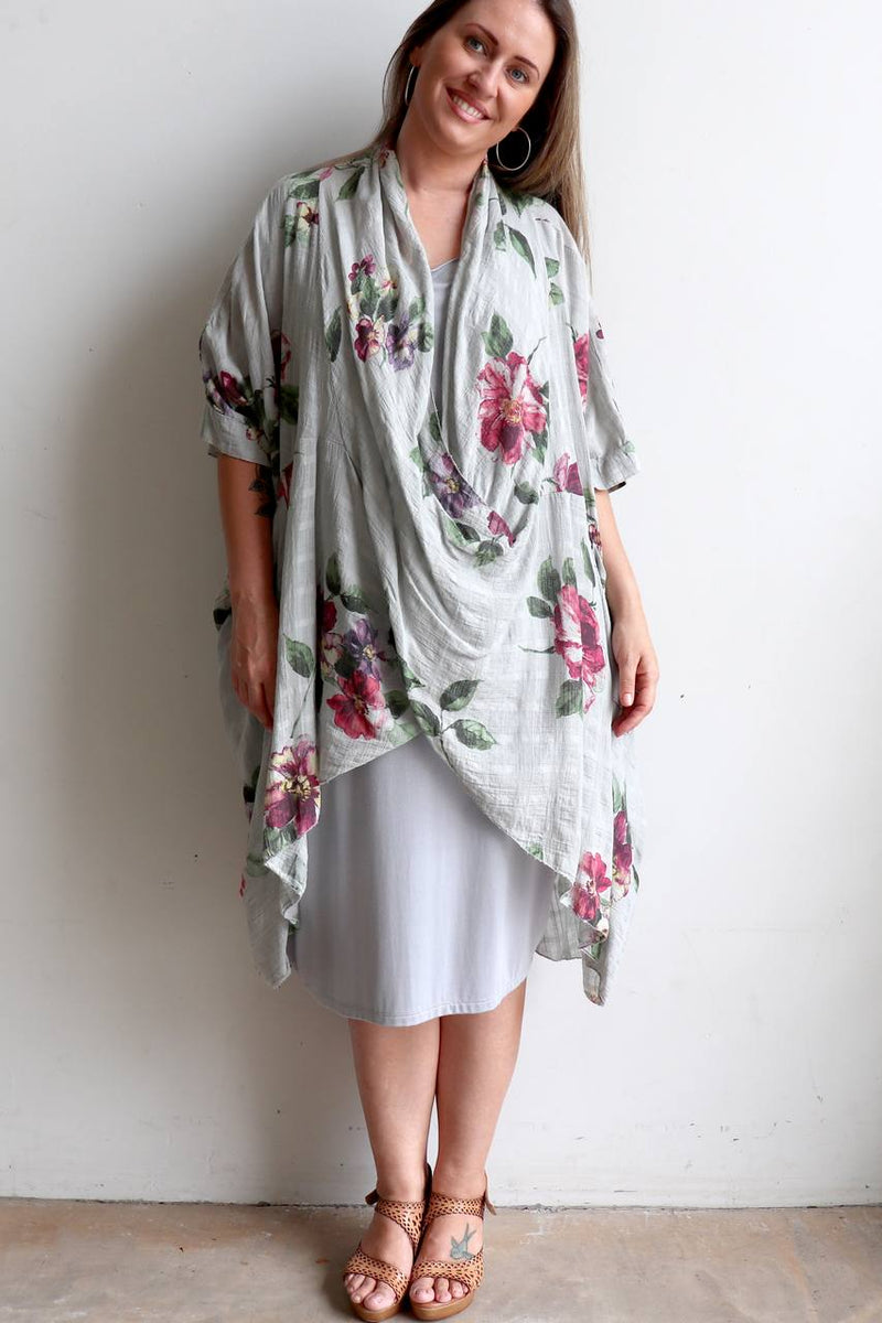 Ladies 100% pure linen poncho throw over. Italian made this generous plus size kaftan add a floral statement to a special occasion outfit - Silver.