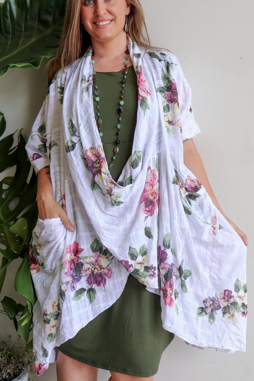 200f3debbe4 Italian made in · Purolino 100% pure linen poncho throw over with vintage  floral print.