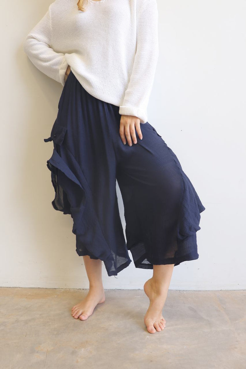 Dramatic ankle-length, wide-leg lounge pants designed for layering. Plus size. Navy Blue.