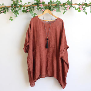 Ladies loose summer kaftan top. Made from 100% pure linen and made in Italy. Beach cover-up. Generous plus size fitting - Chestnut brown