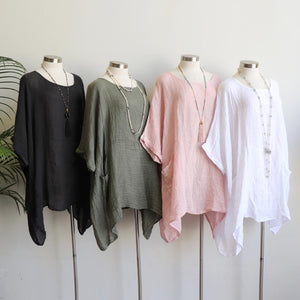 Ladies loose summer kaftan top. Made from 100% pure linen and made in Italy. Beach cover-up. Generous plus size fitting - Charcoal grey, Olive green, Rose pink, White