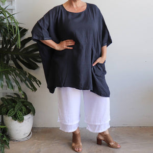Ladies loose summer kaftan top. Made from 100% pure linen and made in Italy. Beach cover-up. Generous plus size fitting - Navy Blue.