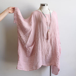 Ladies loose summer kaftan top. Made from 100% pure linen and made in Italy. Beach cover-up. Generous plus size fitting - Rose Pink