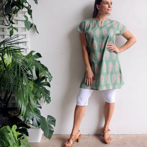 Womens Sari Tunic hand cut + sewn from 100% cotton. Versatile short sleeved summer dress or long top available in sizes S-XXL.