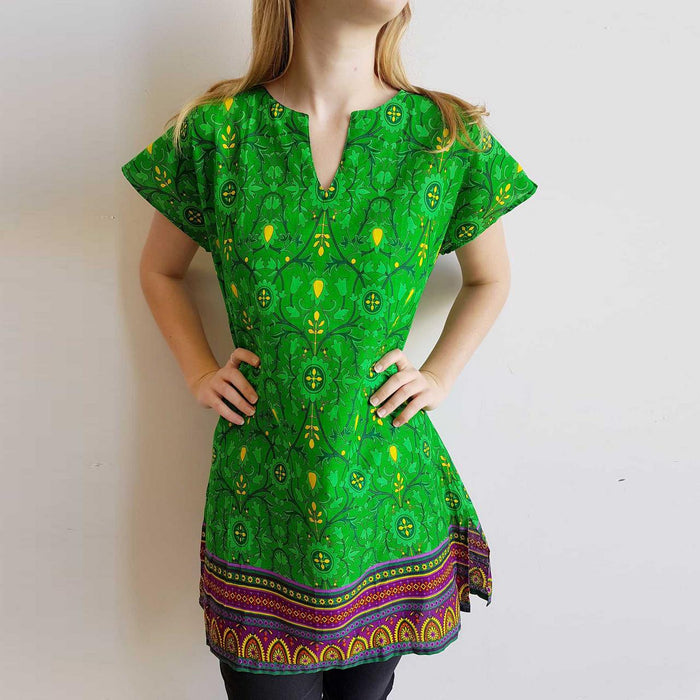 Sari Cotton Tunic Dress - Tropical Green Paisley