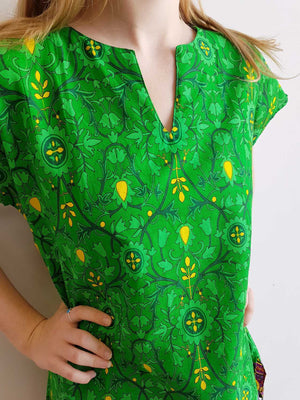 Women's vibrant sari cotton tunic top mini dress in rich green paisley print.