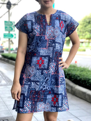Sari Cotton Tunic Mini Dress with Short Sleeve V neck above knee Navy Blue.