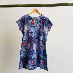 Sari Cotton Tunic Mini Dress with Short Sleeve V neck above knee.  Ethically made fashion.