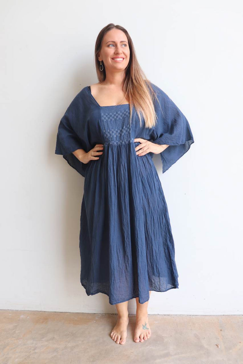 Kobomo Original all natural cotton below the knee. Ethically hand made Kaftan dress.