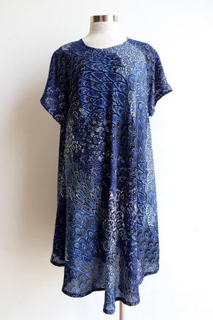 Savvy Sun Dress in peacock paisley pattern print. Below the knee hemline and short sleeves. Plus Sizes.