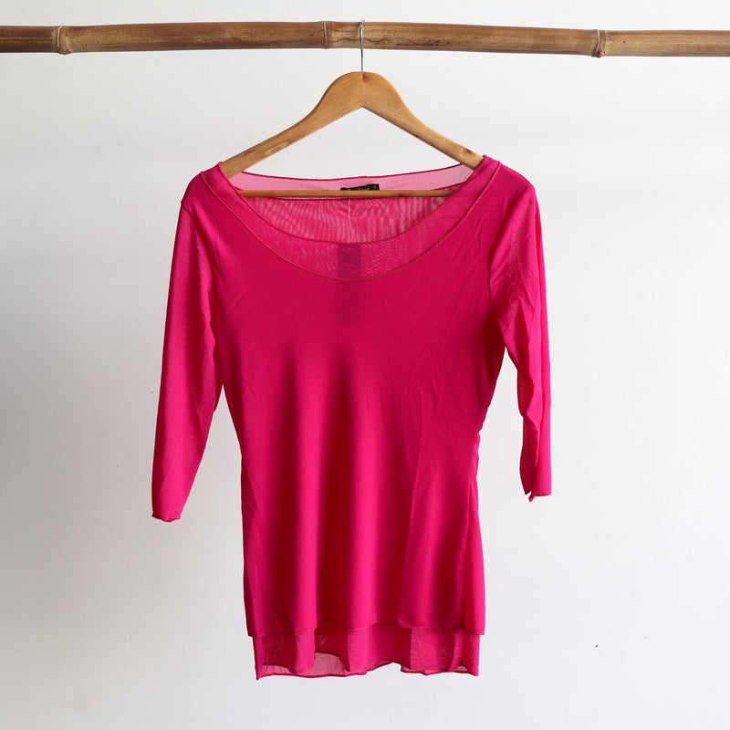 Seattle Stretch Mesh Top in Pink.