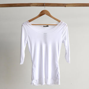 Seattle Stretch Mesh Top in White