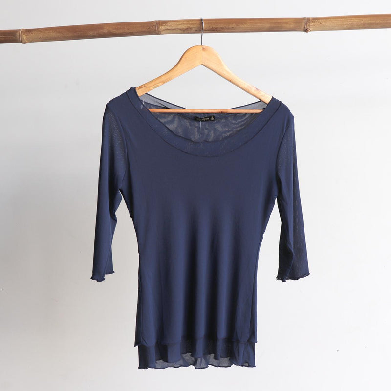 Seattle Stretch Mesh Top in Navy.