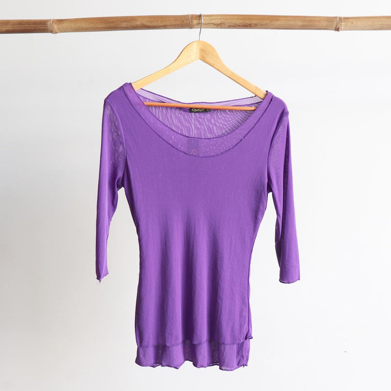 Seattle Stretch Mesh Top in Purple.