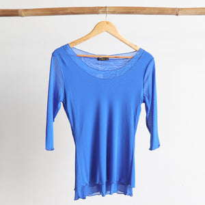 Seattle Stretch Mesh Top in Cobalt Blue.