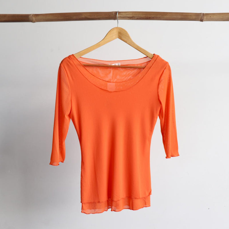 Seattle Stretch Mesh Top in Orange.