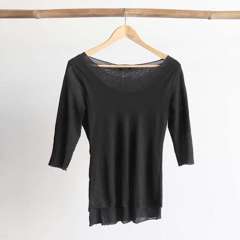Seattle Stretch Mesh Top in Black.
