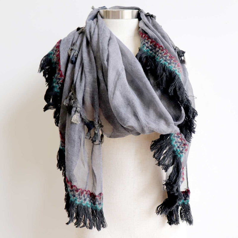 Oversized tassel trim scarf or wrap in earthy Autumn tones for cool winter styling