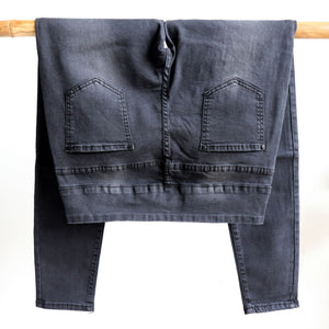Shaper Denim Jeans - mid-rise stretch pull-on jegging in plus size. Black back on hanger.