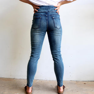 Shaper Denim Jeans - mid-rise stretch pull-on jegging in plus size. Back view.