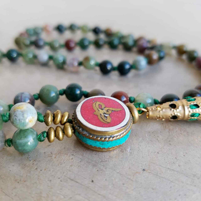 Gorgeous Shiawase hand-knotted stone tassel necklace. Forrest Green Stones