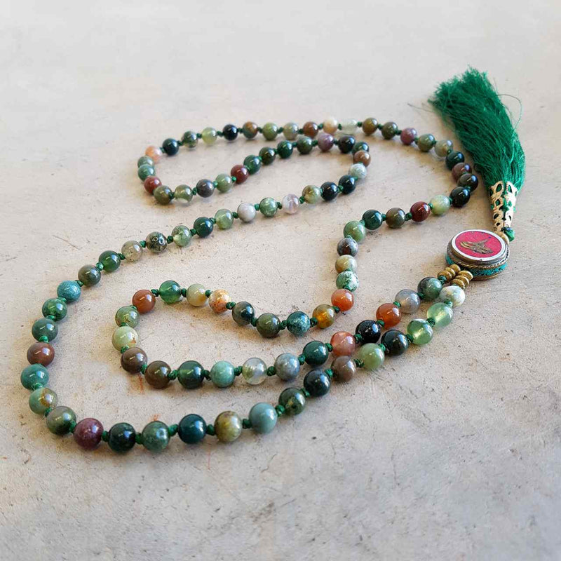 Gorgeous Shiawase hand-knotted stone tassel necklace. Forest Green Stone