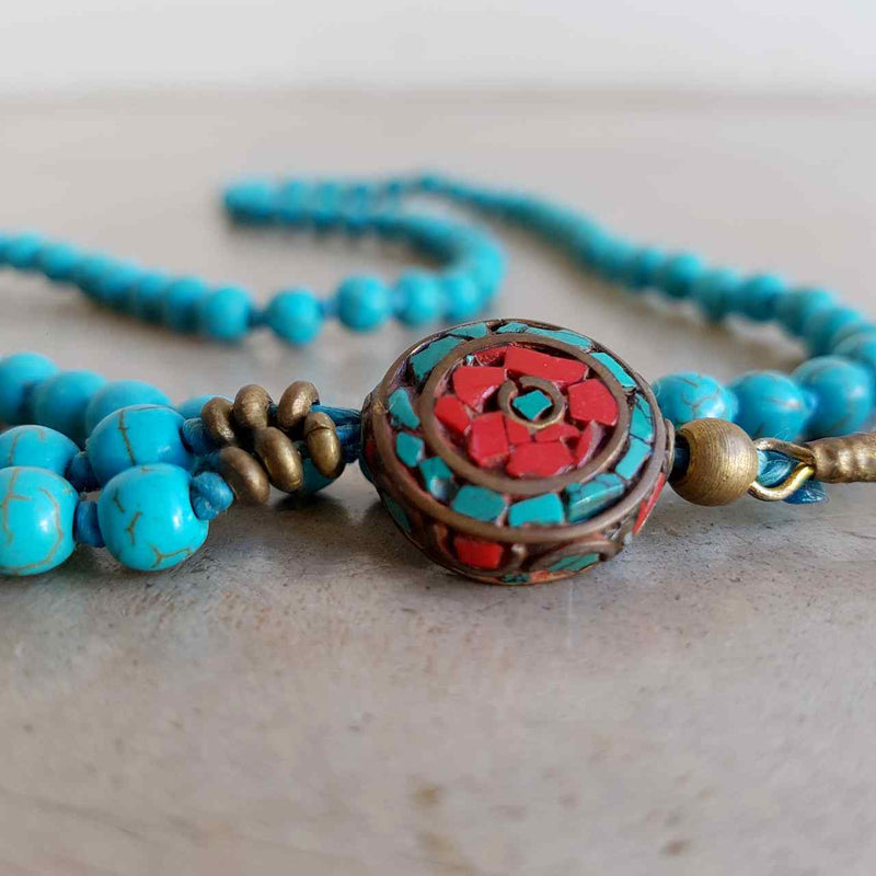 Gorgeous Shiawase hand-knotted stone tassel necklace. Turqoise