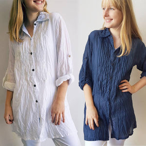 Shirt Maker Tunic Top All Natural Crinkle Cotton Button Up 3/4 Sleeve + collar. White + Navy.