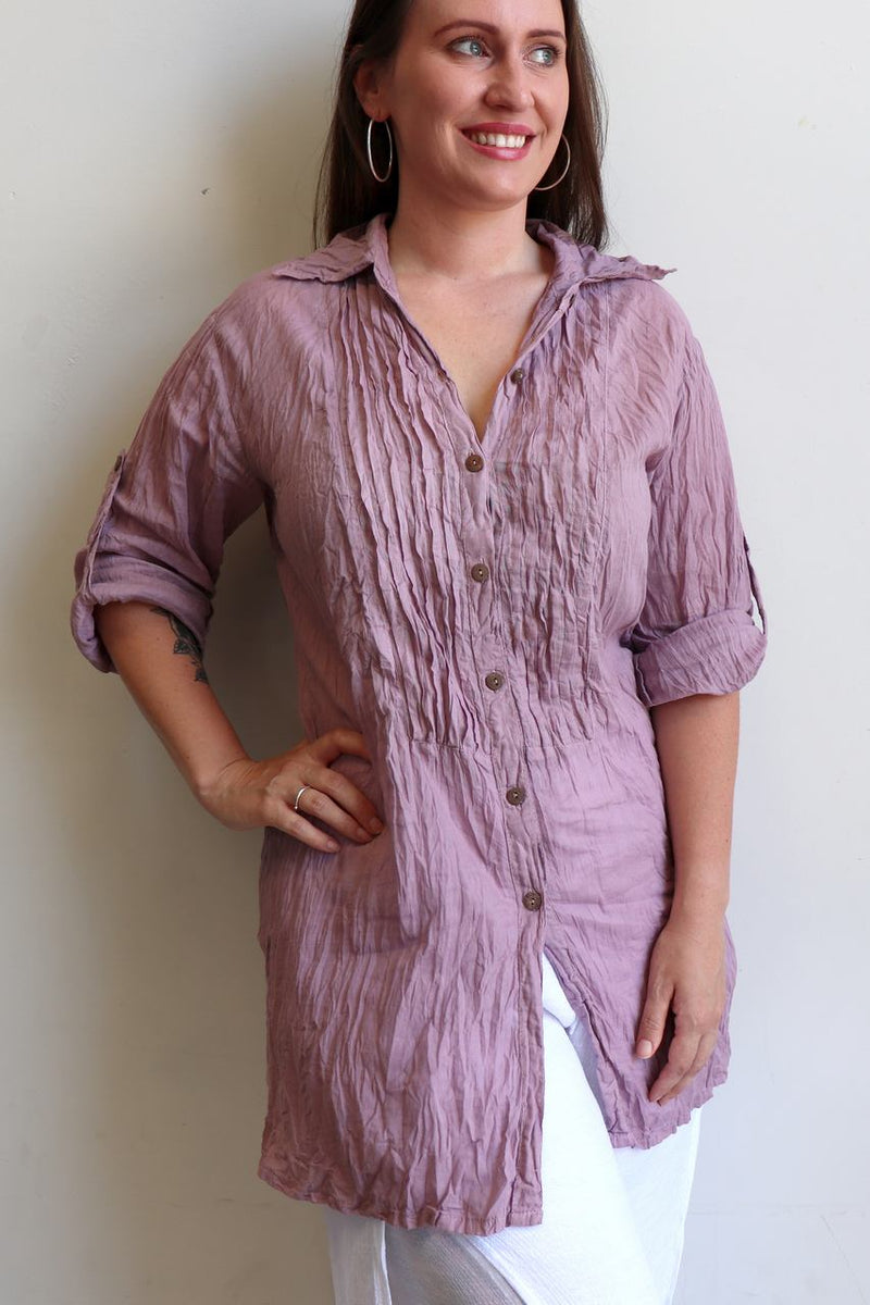 Shirt Maker Tunic Top All Natural Crinkle Cotton Button Up 3/4 Sleeve + collar.  Lavender Pink.