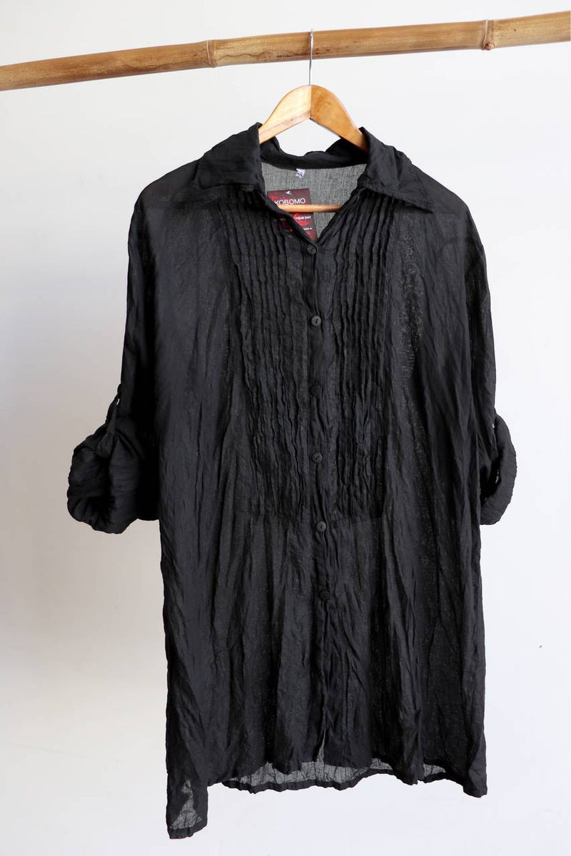 Shirt Maker Tunic Top All Natural Crinkle Cotton Button Up 3/4 Sleeve + collar.  Black