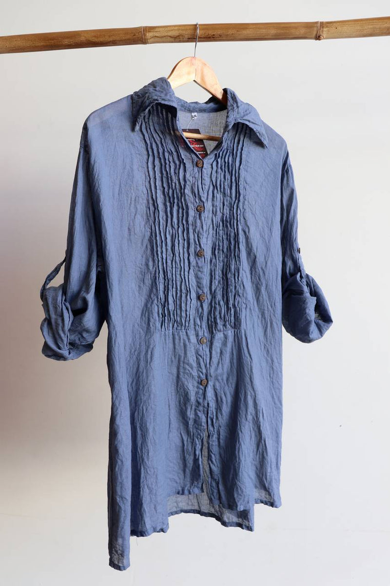 Shirt Maker Tunic Top All Natural Crinkle Cotton Button Up 3/4 Sleeve + collar.  Charcoal.