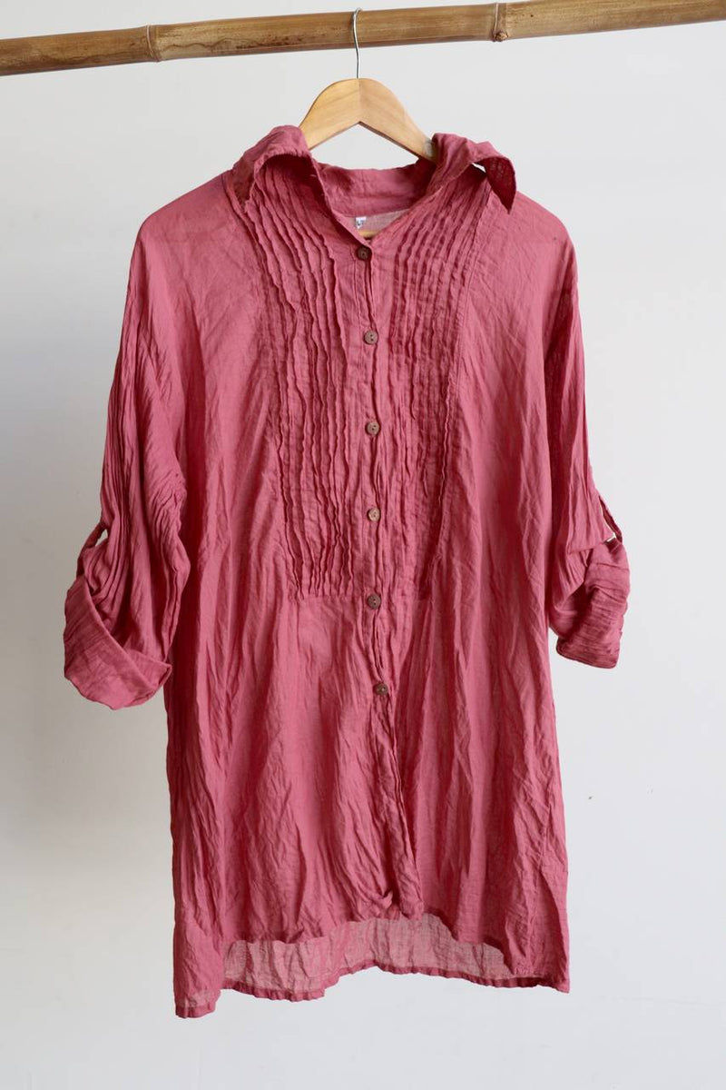 Shirt Maker Tunic Top All Natural Crinkle Cotton Button Up 3/4 Sleeve + collar.  Dusty Pink