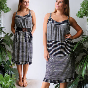 Shoestring Sun Dress Black Stripe