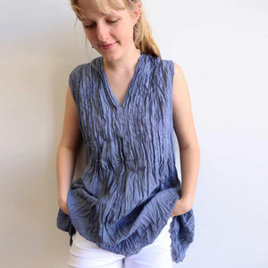 The Wanderer Cotton Blouse Top Sleeveless V-Neck. Charcoal Blue.