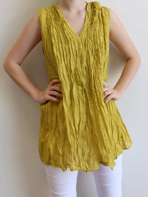 The Wanderer Cotton Blouse Top Sleeveless V-Neck. Mustard Yellow.
