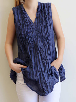 The Wanderer Cotton Blouse Top Sleeveless V-Neck. Navy Blue.