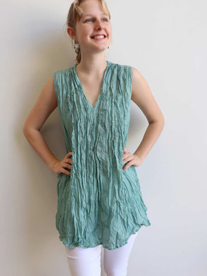 The Wanderer Cotton Blouse Top Sleeveless V-Neck. Ocean Mist Green.