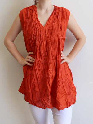 The Wanderer Cotton Blouse Top Sleeveless V-Neck. Rust Orange.