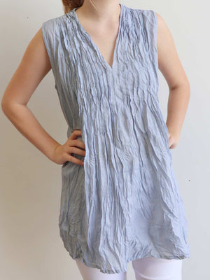 The Wanderer Cotton Blouse Top Sleeveless V-Neck. Silver Blue.