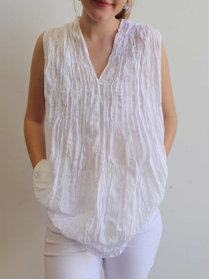 The Wanderer Cotton Blouse Top Sleeveless V-Neck. White.