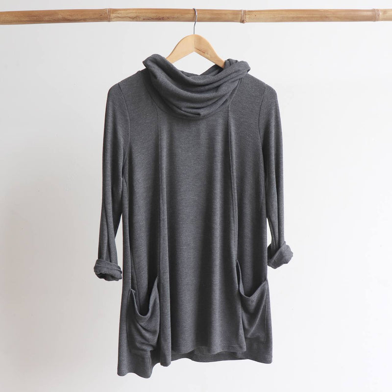 Snowy River Knit Tunic - Charcoal - sizes 8-16.