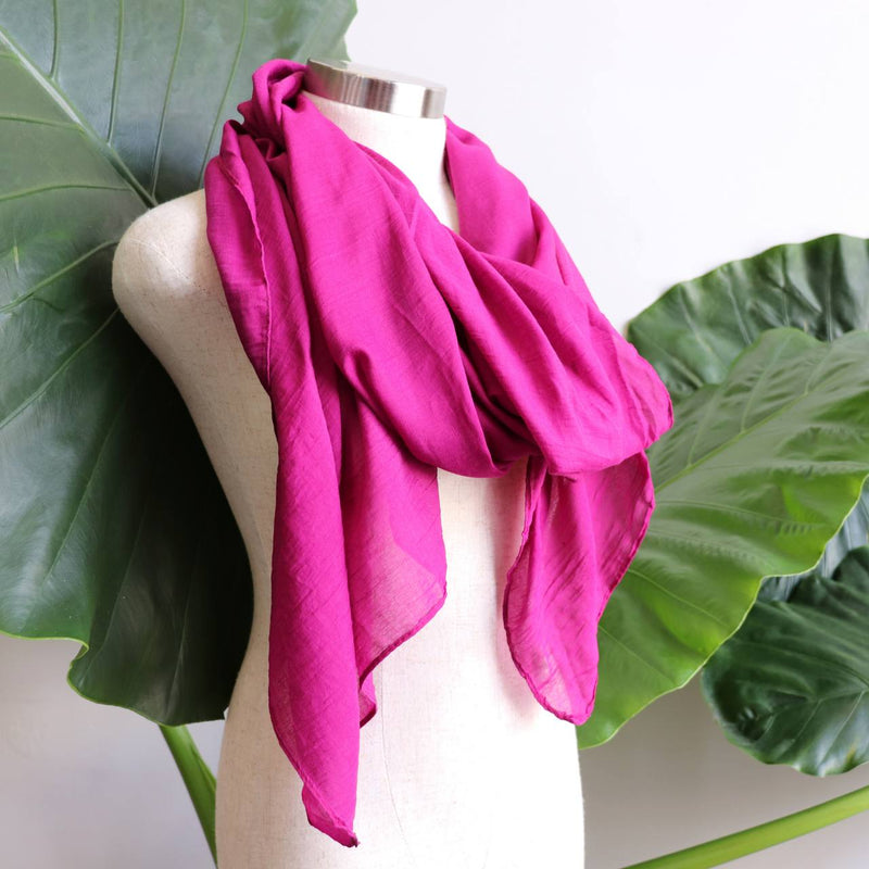 Light + soft lightweight all season women's cotton blend scarf wrap - Berry.
