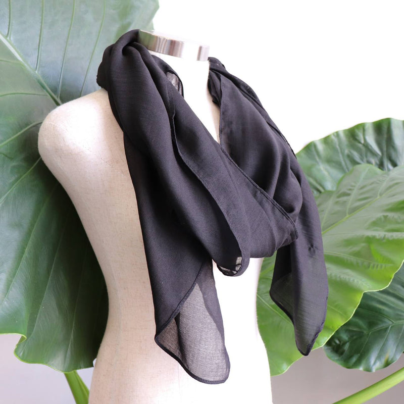 Light + soft lightweight all season women's cotton blend scarf wrap - Black.