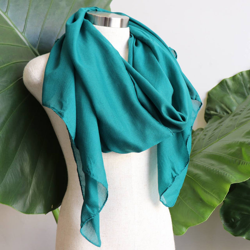 Light + soft lightweight all season women's cotton blend scarf wrap - Dark Teal.