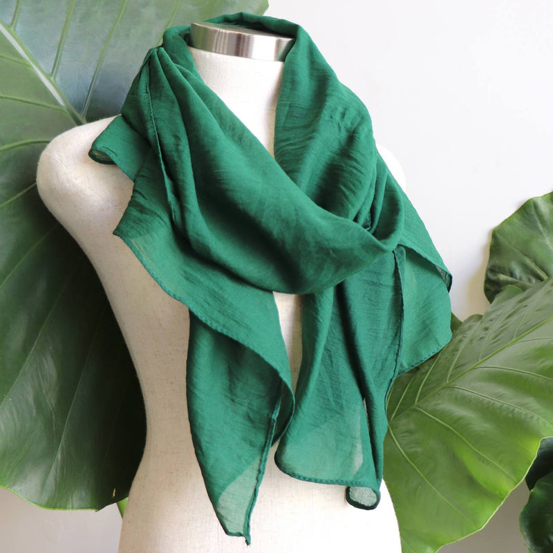 Light + soft lightweight all season women's cotton blend scarf wrap - Forest Green.