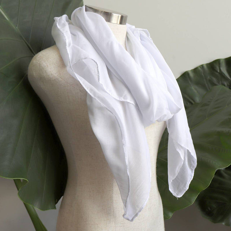 Light + soft lightweight all season women's cotton blend scarf wrap - Ice White.