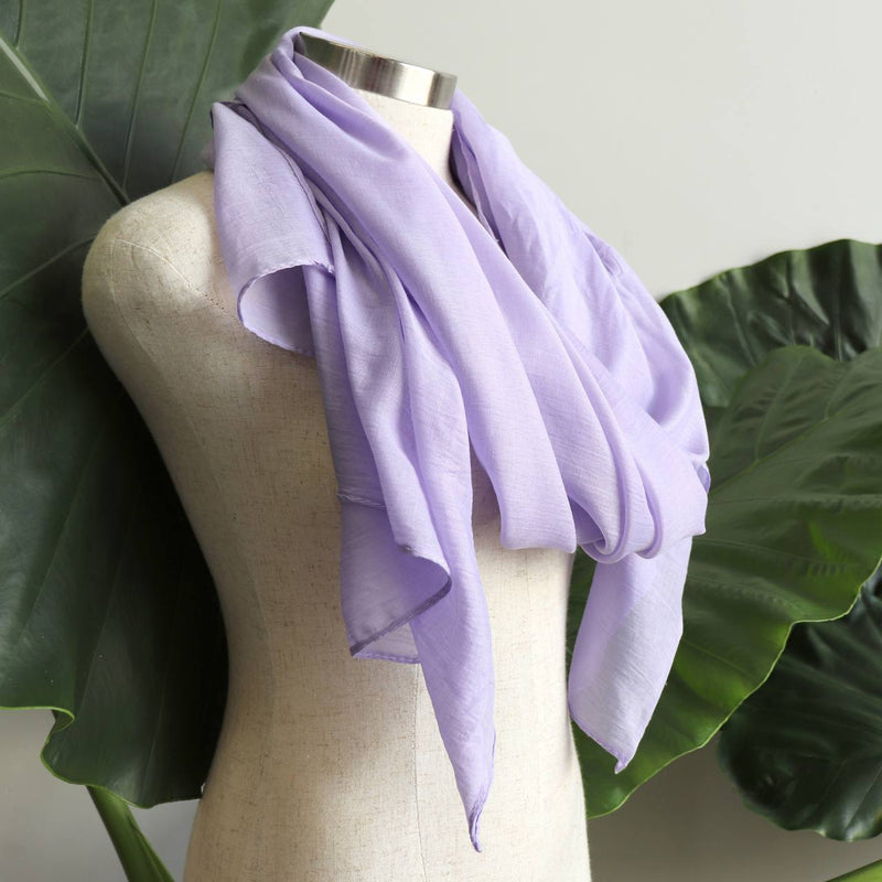 Light + soft lightweight all season women's cotton blend scarf wrap - Lilac.