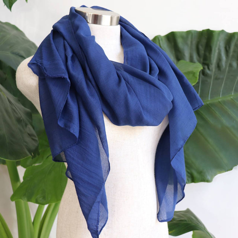 Light + soft lightweight all season women's cotton blend scarf wrap - Navy Blue.